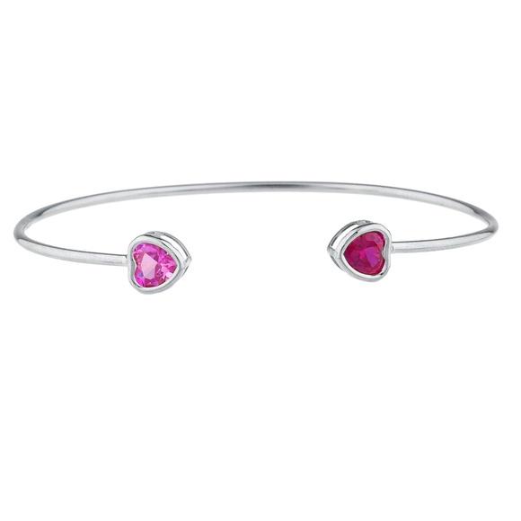 1 Carat Pink Sapphire 6mm Bezel Heart Bracelet .925 Sterling Silver